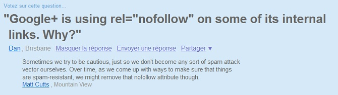 Liens nofollow sur google+
